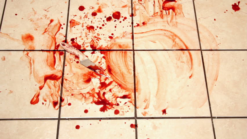 Cleaning Blood From Kitchen Tile With Knife Laying Stock