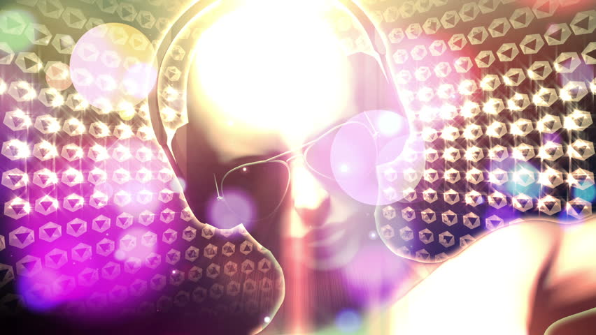 3D woman with headphones AND sunglasses spinning with glow and light streaks and