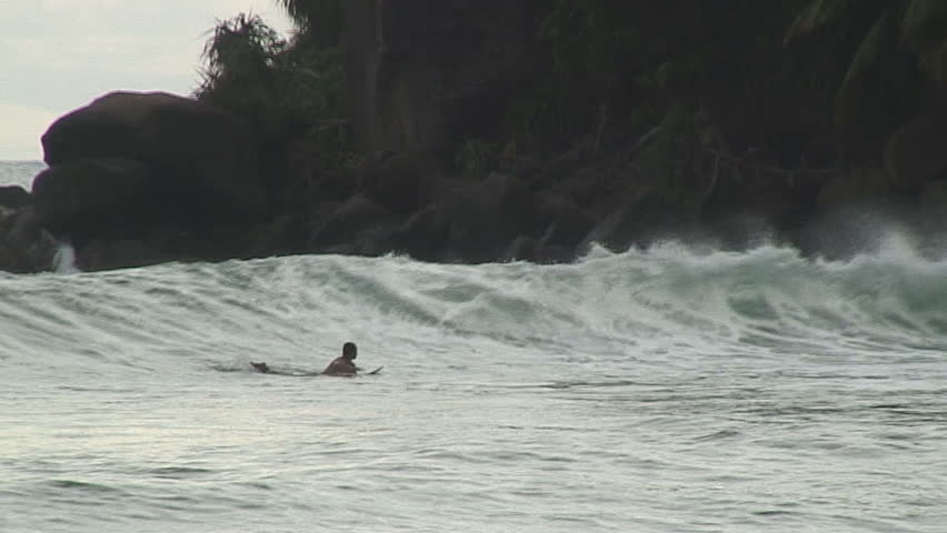 Surfers in Mirissa Sri Lanka - HD stock video clip