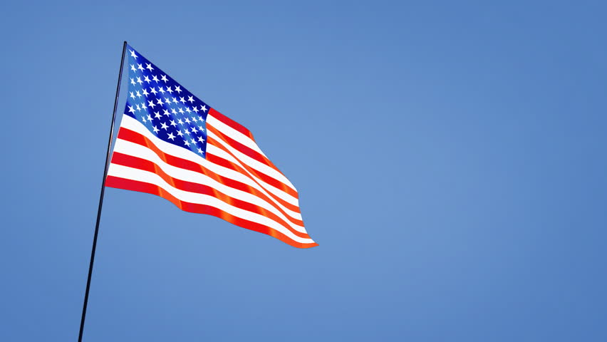 American Flag Waving In The Wind On A Black Background ...