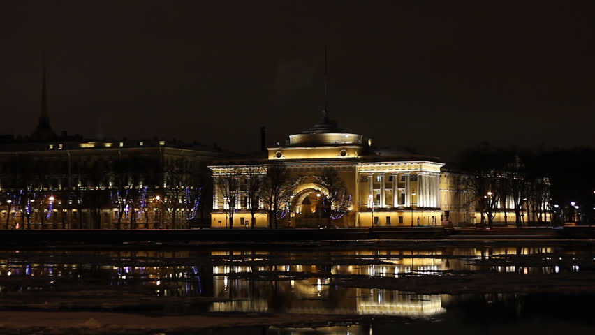 The Admiralty building at night, St. Petersburg, Russia    Shutterstock HD Video #1885864
