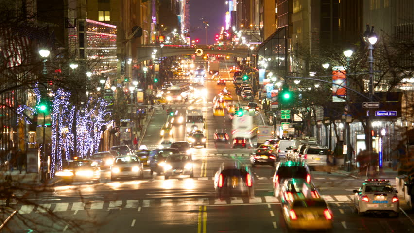 New York City Manhattan street view with busy traffic at dusk time lapse | Shutterstock HD Video #1887007