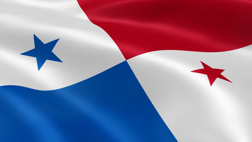 Panamanian flag in the wind. Part of a series. - HD stock footage clip