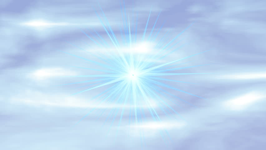 "Heavenly Rays ""Peace"". Glowing sky background with light rays from heaven shimmering throughout the animation. The word ""Peace"" flies toward and past the camera. - HD stock footage clip"