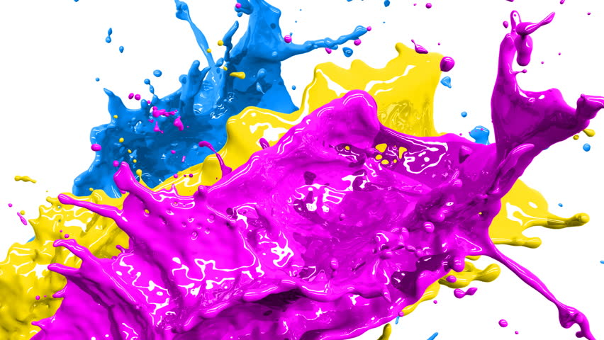 Colored paint splashes in slow motion and freeze motion HD.  - HD stock video clip