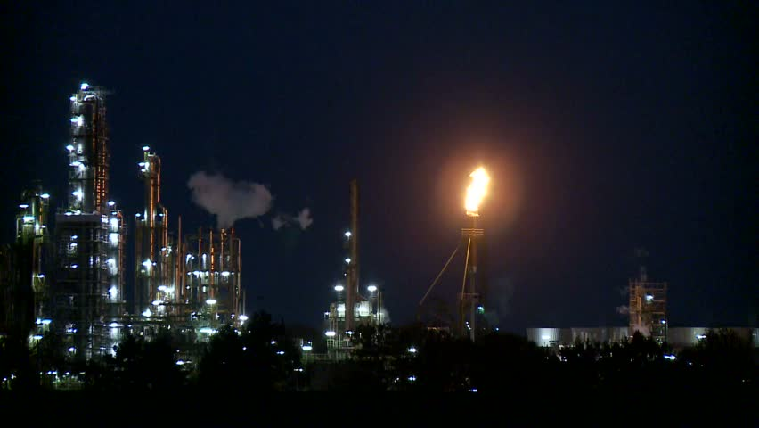 Industrial plant at night - HD stock video clip