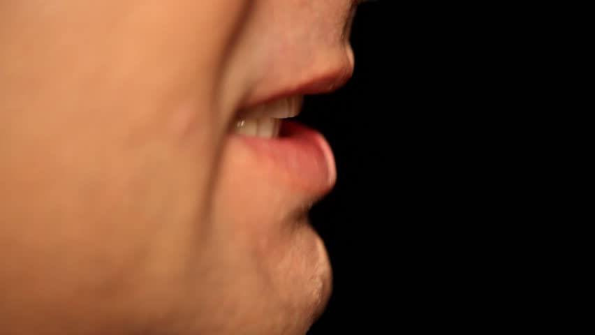 Businessmans mouth talking - Face - Lip - Extreme Close-Up - Profile - Full HD