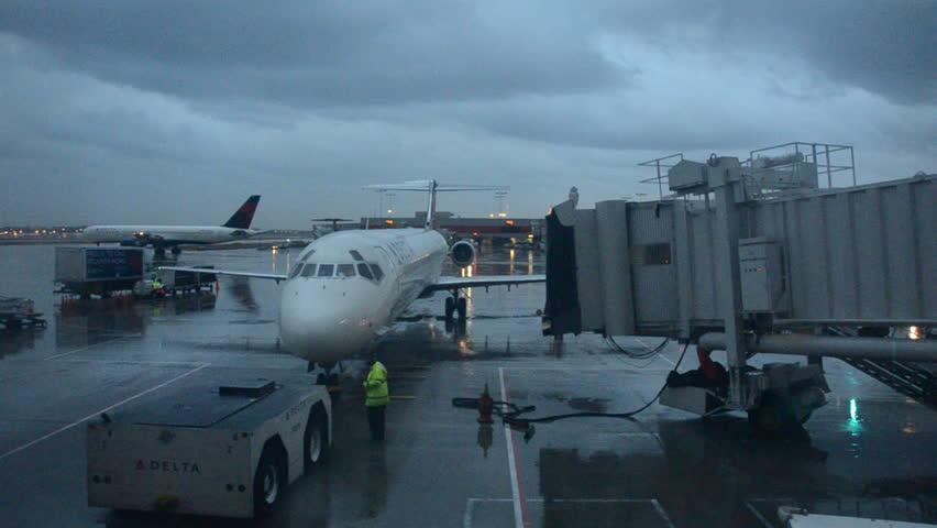 ATLANTA JANUARY 26 Delta Airlines Passenger Jet Departs A Gate At Atlanta