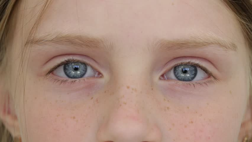 What Does Sd Mean >> Close Up Young Girl Eyes, She Stares Into Camera, Portrait ...