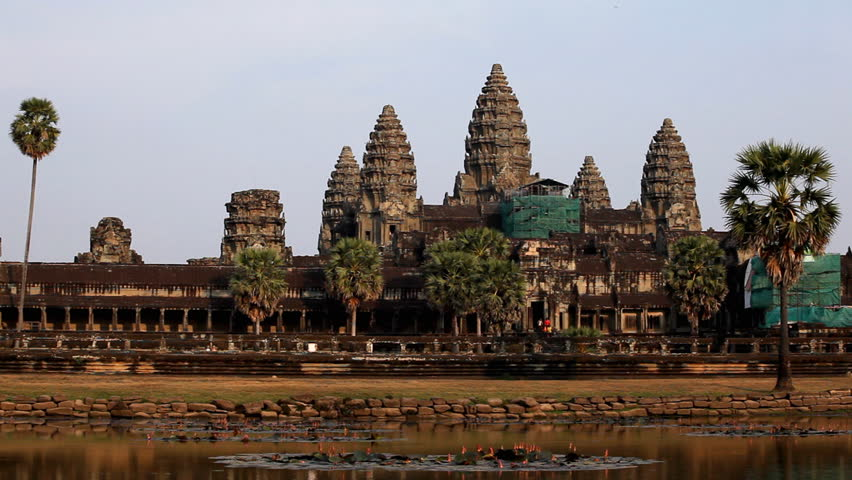 People visit Angkor Wat Temple, Cambodia, The World's Largest Religious Building - HD stock video clip