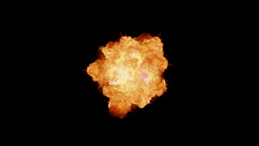 Bomb Explosion Rendered In Png With Alpha Channel Stock