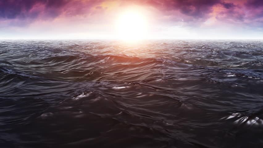 Computer Generated Beautiful Wavy Ocean Scene With Shiny Warm Sun | Shutterstock HD Video #19201738