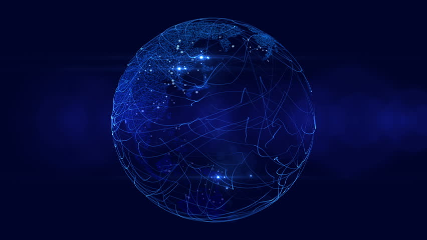 Blue Digital Globe With City Lights. Broadcast ready motion graphic. - HD stock video clip