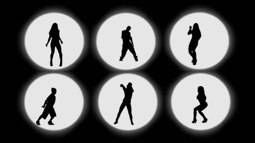6 silhouettes dancing. Backlight.   - HD stock video clip