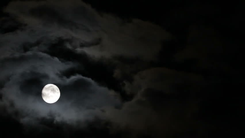 Full moon with moving clouds at night | Shutterstock HD Video #1935346