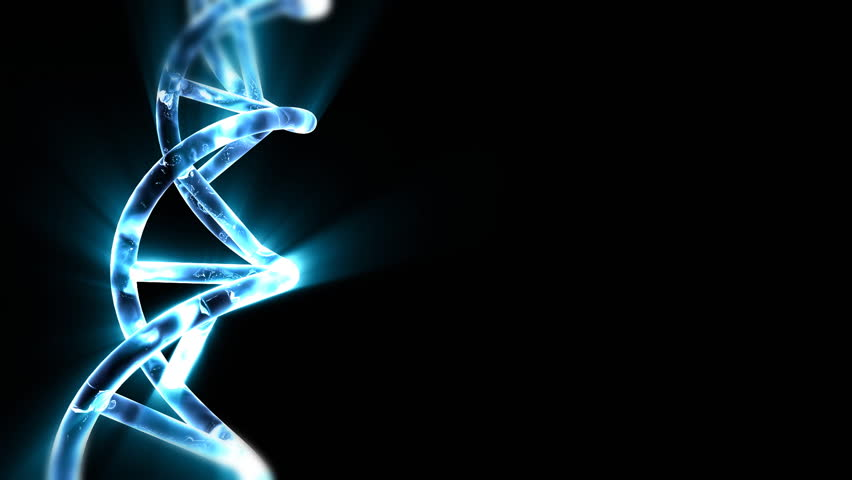 DNA string with blue light beams - HD stock video clip