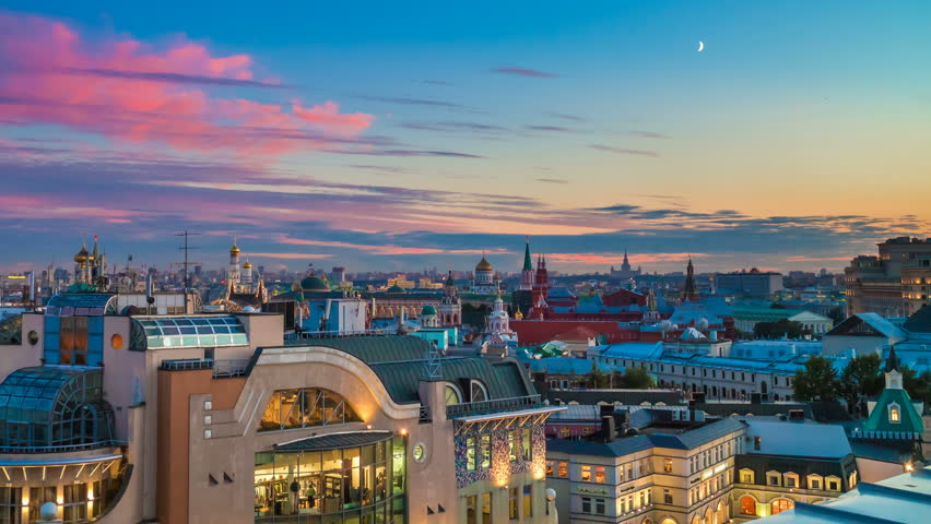 Moscow panorama. 4k timelapse. Aerial view. Kremlin and downtown. Half moon in sunset sky. | Shutterstock HD Video #19363549