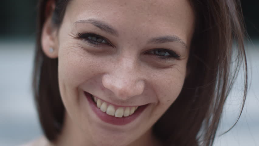 Portrait of Attractive Smiling Caucasian Ethnicity Young Woman in Urban Environment. Shot on RED Cinema Camera in 4K (UHD). #19367230