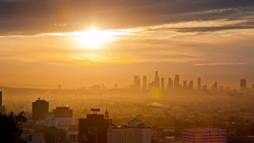 Sunrise over Los Angeles.Timelapse.