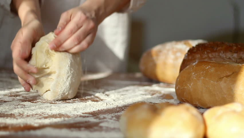 Baker Kneading Dough In Flour On Table, Slow Motion, Dolly Shot Stock Footage Video 1949701 ...