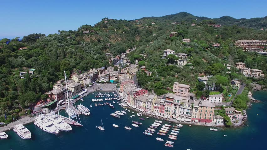 Portofino, Italy,Townscape with many boats are in harbor of Portofino at summer sunny day. Aerial view | Shutterstock HD Video #19525045