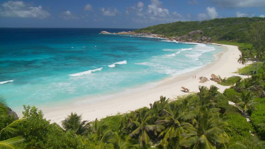waves rushing on beautiful island