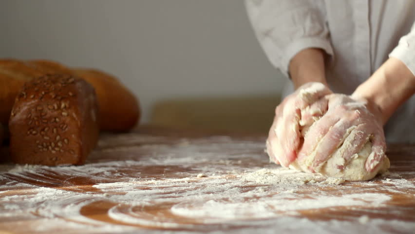 Baker Kneading Dough With Rolling Pin On Table Stock Footage Video 1949710 - Shutterstock