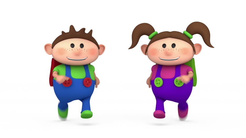 cute school kids running - back to school concept - high quality 3d animation - loopable