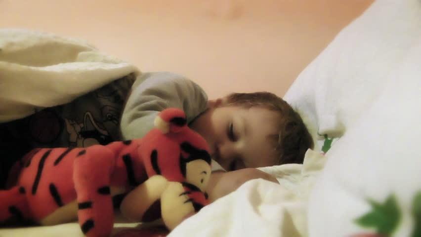 Baby Boy Sleeping, zoom in  - HD stock video clip