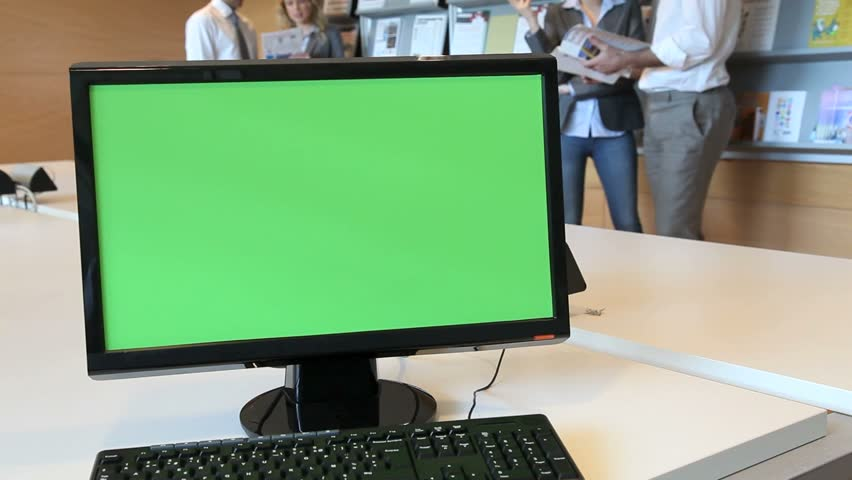 Green screen desktop set on room table - HD stock video clip