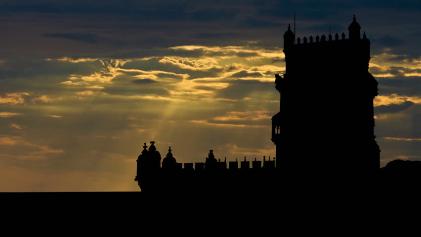 Belem Tower, or Torre de Belem, or the St Vincent, tower, is a fortified tower located in Santa Maria de Belem in the municipality of Lisbon, Portugal. It is an UNESCO World Heritage Site.   - HD stock footage clip