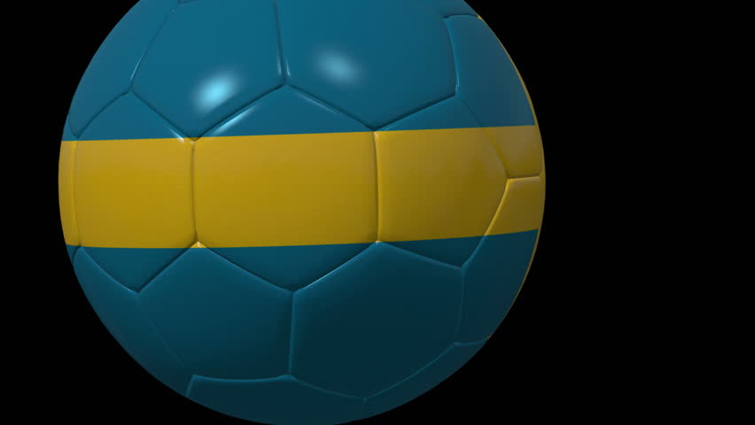 Sweden Soccer ball over black background. 3 different 3D football ball transitions to wipe from a to b textured with Sweden flag For TV shows and sport news alpha matte for background replacement | Shutterstock HD Video #19873444