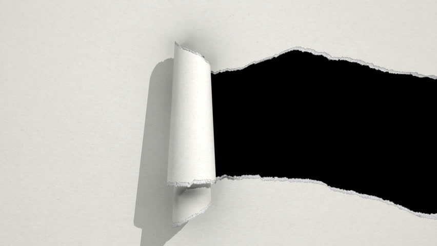Ripping white paper animation with matte. - HD stock video clip
