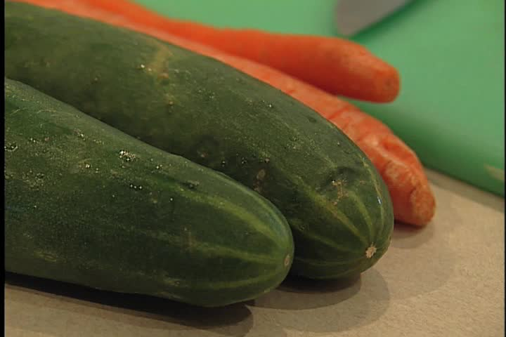 Cucumber ands carrots - SD stock footage clip