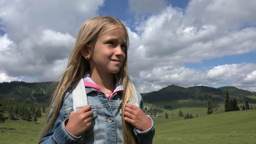 4K Girl Portrait Walking in Nature, Tourist Child at Camping in Mountains, POV | Shutterstock HD Video #20008237