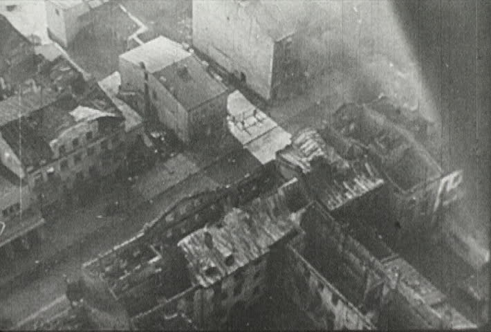 EUROPE - CIRCA 1942-1944: World War II, Aerial View of War Ravaged Warsaw