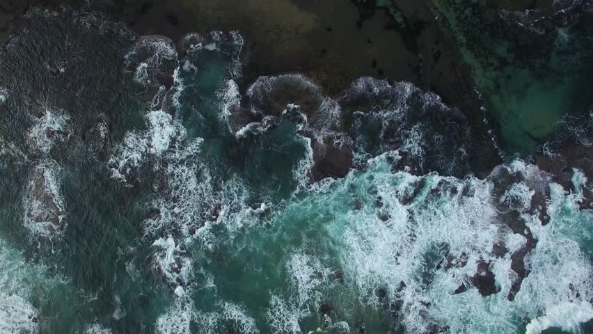 Aerial video looking straight down on powerful crushing waves at Point Nepean National Park, Melbourne, Victoria, Australia | Shutterstock HD Video #20106796