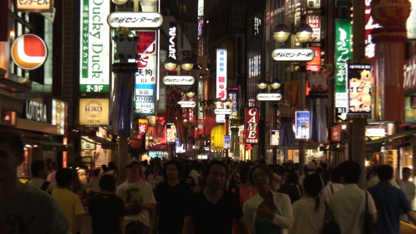 Tokyo Shibuya street at night - HD stock footage clip
