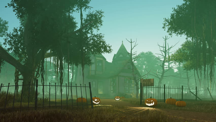 Jack-o-lantern Halloween pumpkins on the trail leading to abandoned haunted house surrounded by creepy dead trees at misty night. Realistic 3D animation rendered in 4K | Shutterstock HD Video #20168338