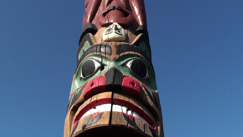 Painted totem pole - HD stock video clip