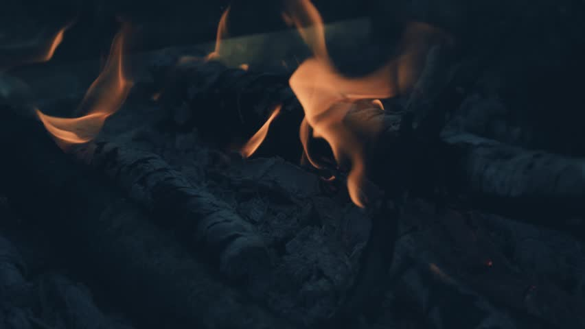 Flames fire, the remains of charred wood ash. | Shutterstock HD Video #20211988