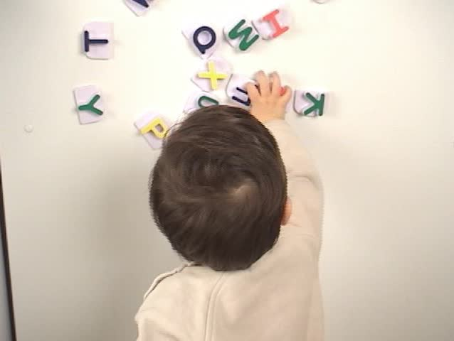 baby learning alphabet - SD stock footage clip