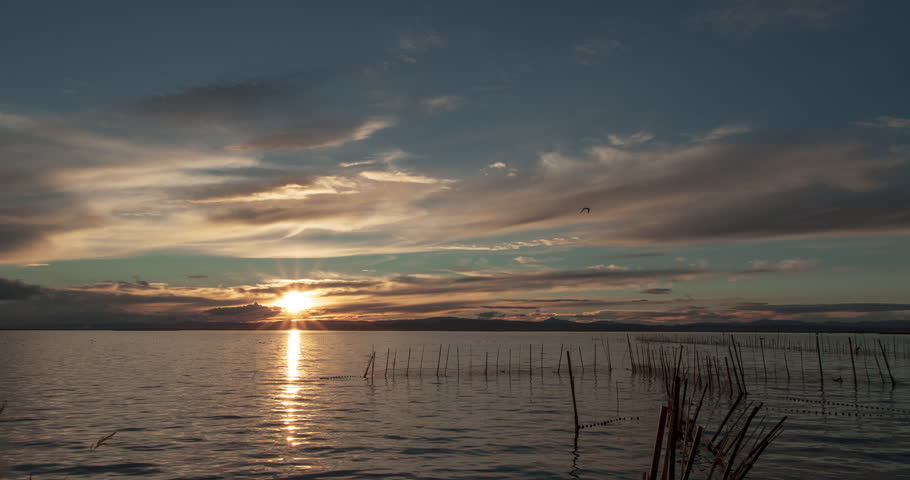 4K UHD Time lapse of Sunset at the Albufera Natural Park in Valencia