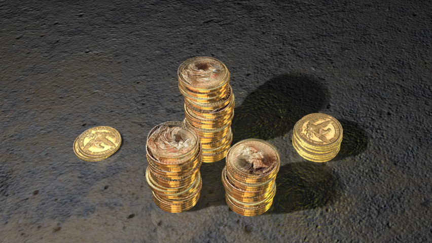 Golden Coin Towers Growing - HD stock footage clip
