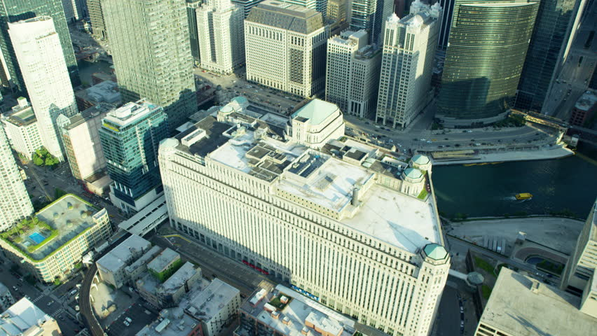 Chicago - June 2016: Aerial Illinois America Merchandise Mart Plaza cityscape city skyscraper building travel business outdoor Finance vertical Grid system RED DRAGON   Shutterstock HD Video #20518186