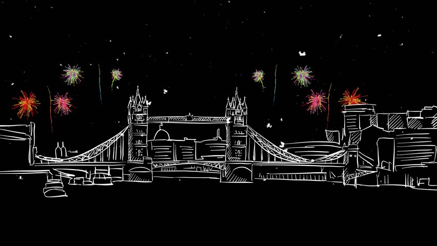London Tower Bridge with Bright Firework, Animated Motion Design Footage on Black Background