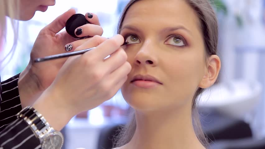Model's face close-up during the make-up applying | Shutterstock HD Video #20537014
