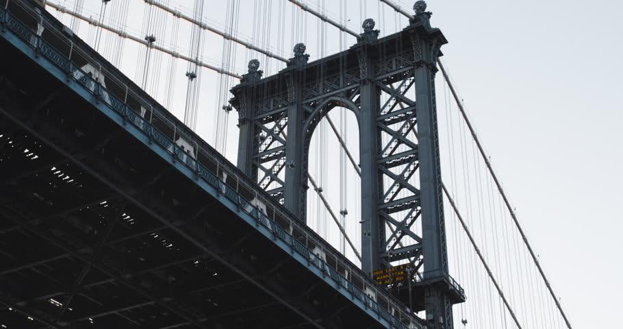 An establishing shot of New York City's Manhattan Bridge. Shot during a summer 2016 sunset in 4k. The bridge connects New York's boroughs of Manhattan and Brooklyn. (Jun 16 - New York City) | Shutterstock HD Video #20569126