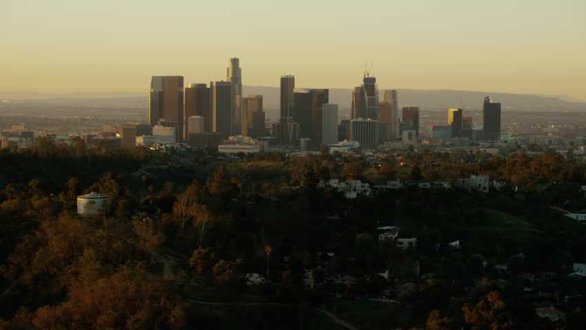 Los Angeles, USA - 2016: Aerial California sunrise Skyscraper Downtown city outdoor Cityscape commuter corporate business building commerce travel tourism vacation | Shutterstock HD Video #20571187
