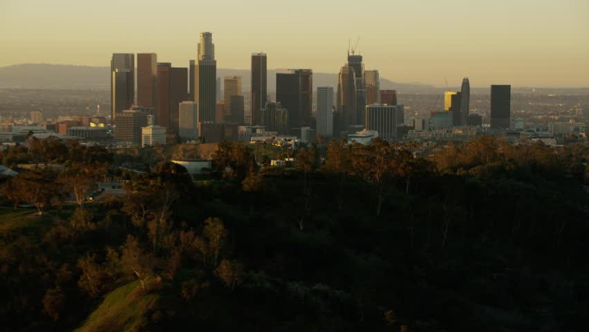 Los Angeles, USA - 2016: Aerial California sunrise Dodger Stadium Baseball Landmark Skyscraper Downtown city Elysian Park Skyline Commercial corporate travel | Shutterstock HD Video #20571223